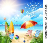 beautiful tropical beach with... | Shutterstock .eps vector #650346535