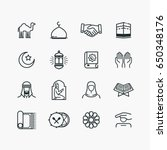 islamic line art icons set.... | Shutterstock .eps vector #650348176