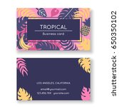 business card with tropical... | Shutterstock .eps vector #650350102