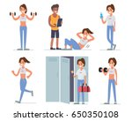 fitness woman training in gym.... | Shutterstock .eps vector #650350108