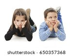 two bored kids lying on the... | Shutterstock . vector #650357368