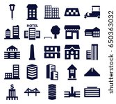 city icons set. set of 25 city... | Shutterstock .eps vector #650363032