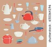 set of kitchen utensils food... | Shutterstock .eps vector #650364196