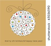 christmas card with ball | Shutterstock .eps vector #65036590
