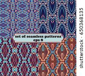 vector set of ethnic seamless... | Shutterstock .eps vector #650368135