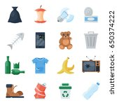 garbage set  sort of waste...   Shutterstock .eps vector #650374222
