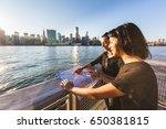girls in new york looking at... | Shutterstock . vector #650381815