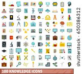 100 knowledge icons set in flat ... | Shutterstock . vector #650386312