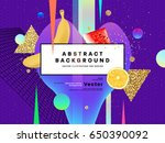 memphis style abstract... | Shutterstock .eps vector #650390092