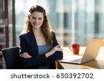 portrait of smiling female... | Shutterstock . vector #650392702