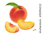 peach and peach slices. vector   Shutterstock .eps vector #650396212