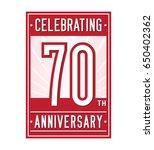 70 years anniversary design... | Shutterstock .eps vector #650402362