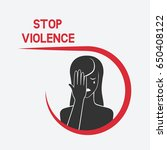 crying woman. stop violence... | Shutterstock .eps vector #650408122