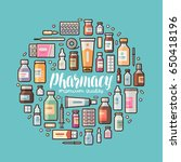 pharmacy  pharmacology banner.... | Shutterstock .eps vector #650418196