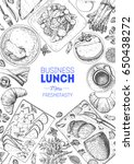 business lunch top view frame.... | Shutterstock .eps vector #650438272