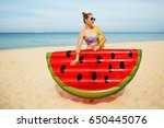summer lifestyle portrait of... | Shutterstock . vector #650445076