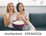 women eating popcorn and... | Shutterstock . vector #650460226