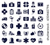 emergency icons set. set of 36... | Shutterstock .eps vector #650460796