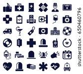 emergency icons set. set of 36... | Shutterstock .eps vector #650460796
