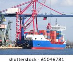 huge container cargo ship is... | Shutterstock . vector #65046781