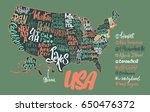 silhouette of the map of usa... | Shutterstock .eps vector #650476372
