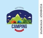 national camping month vector... | Shutterstock .eps vector #650484316