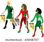 Raster version Illustration of three women Christmas shopping with bags dressed fashionably. - stock photo