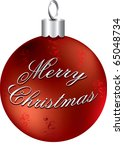Raster version Illustration of red and silver Merry Christmas ornament isolated. - stock photo