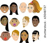 People Faces 4. Vector Illustration set of 12 peoples on a diverse set of cultures. Also available in other sets. - stock photo