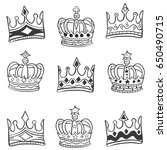 collection style crown doodle... | Shutterstock .eps vector #650490715