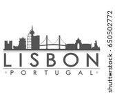 lisbon skyline silhouette... | Shutterstock .eps vector #650502772