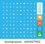 education icon set clean vector   Shutterstock .eps vector #650507902