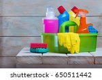 cleaning product on rustic... | Shutterstock . vector #650511442