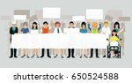 workers gather and carry a... | Shutterstock .eps vector #650524588