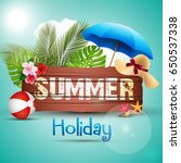 summer holiday with wooden...   Shutterstock . vector #650537338