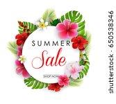 summer sale round background... | Shutterstock . vector #650538346