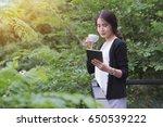 young asian female entrepreneur ... | Shutterstock . vector #650539222