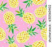 seamless pattern of pineapple | Shutterstock .eps vector #650560402