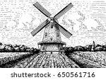 windmill landscape in vintage ...   Shutterstock .eps vector #650561716