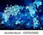global network blue background | Shutterstock .eps vector #650565682