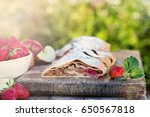 strudel with apples and... | Shutterstock . vector #650567818