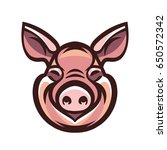 funny smiling pink pig   icon... | Shutterstock .eps vector #650572342
