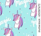magic cute unicorn with stars.... | Shutterstock .eps vector #650587672