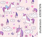 magic cute unicorn with castle. ... | Shutterstock .eps vector #650587696