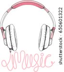 pink headphones illustration... | Shutterstock .eps vector #650601322