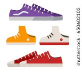 different sneakers and gumshoes ... | Shutterstock .eps vector #650602102