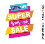 super sale vector banner.  50... | Shutterstock .eps vector #650607508