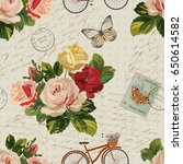 seamless vintage background... | Shutterstock . vector #650614582