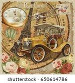 paris vintage poster. | Shutterstock . vector #650614786