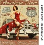 diner route 66 vintage poster | Shutterstock . vector #650616055